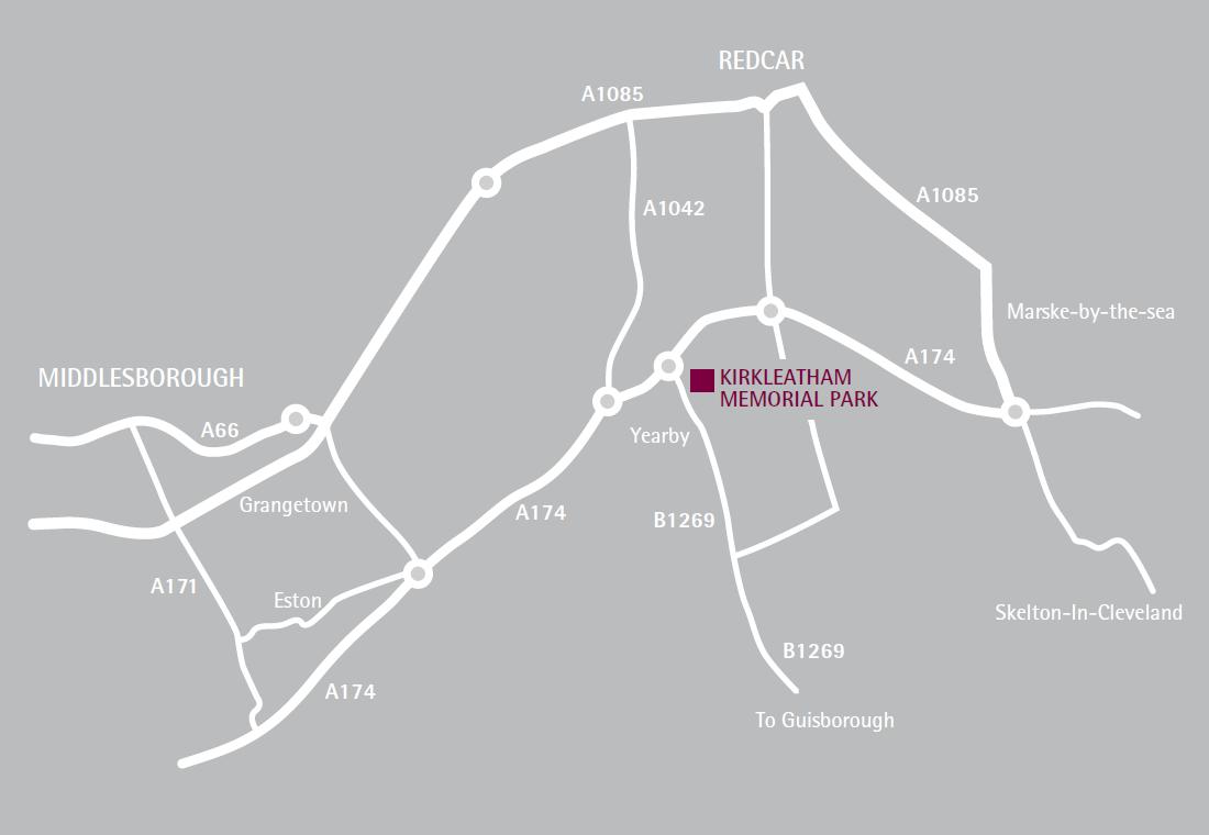 Kirkleatham Memorial Park and Crematorium Location Map